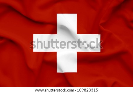 Swiss waving flag - stock photo