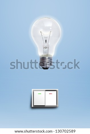switch and bulb light - stock photo