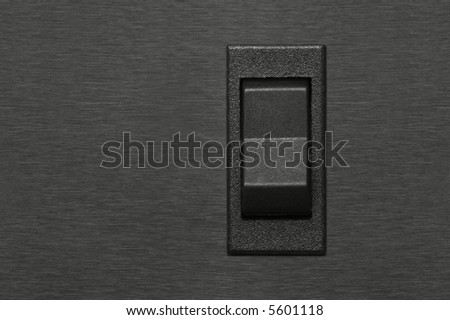 switch button on chromed background - stock photo