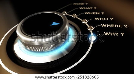 Switch button positioned on the word why, black background and blue light. Conceptual image for illustration of decision making process. - stock photo