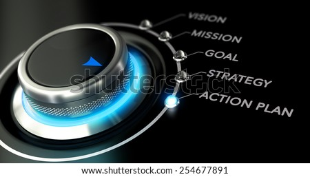 Switch button with blue light, black background. Conceptual image for illustration of business action plan. - stock photo
