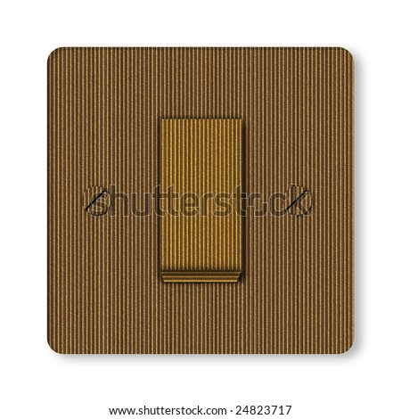 Switch made of cardboard over white background - stock photo
