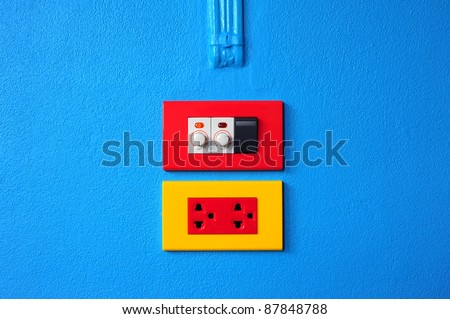 switch, plug and dimmer - stock photo