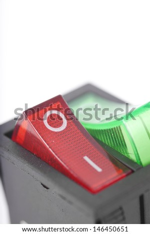switch, push green and red service twin switch electronic part - stock photo
