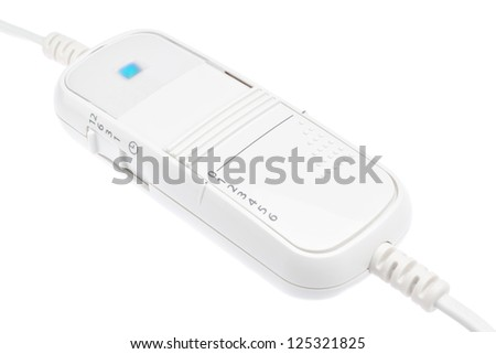 Switch temperature control for the heater. On a white background. - stock photo