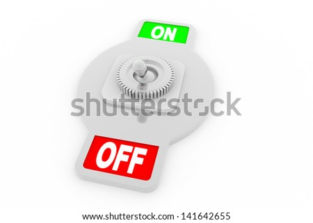 switch with plate reading On and Off, flipped in the On position - stock photo