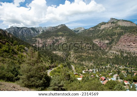 Switchbacks on Highway 550 above Ouray, Colorado - stock photo