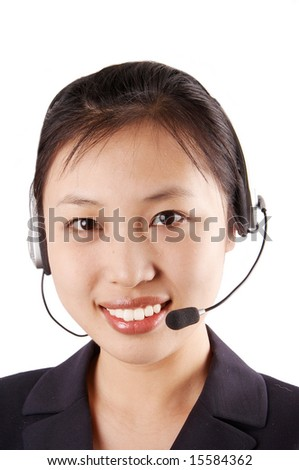 switchboard operator, smiling - stock photo