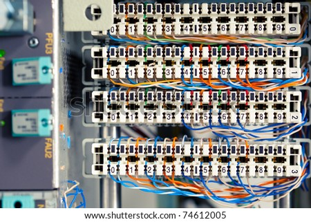 switchboard panel with wires - stock photo
