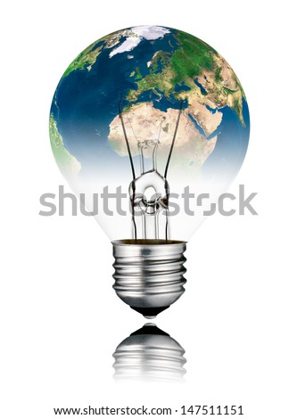 Switched OFF Lightbulb in the Shape of the  World - Europe, Africa and Asia continent. Screw Round Bulb with Reflection Isolated on White Background - stock photo