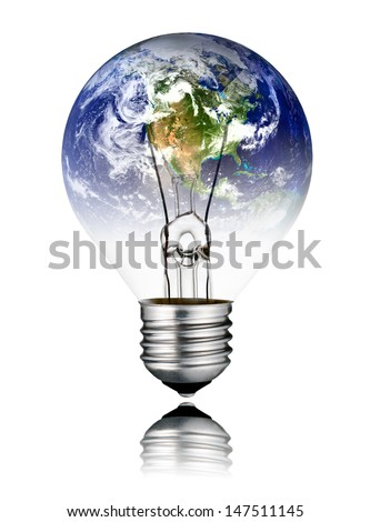 Switched OFF Lightbulb in the Shape of the  World - North America, USA, Canada, Mexico. Screw Round Bulb with Reflection Isolated on White Background - stock photo