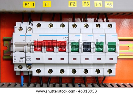 stock photo switches in fusebox 46013953 circuit breaker box stock images, royalty free images & vectors fuse box electrical supplies at fashall.co