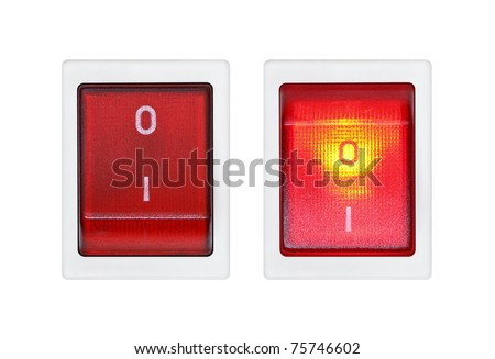 Switches on a white background. ON and OFF - stock photo