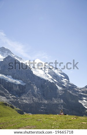 Switzerland. Canton Bern. Berner Oberland.  Kleine Scheidegg. - stock photo