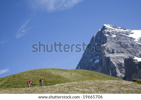 Switzerland. Canton Bern. Berner Oberland.  Kleine Scheidegg. Eiger. - stock photo