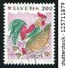 SWITZERLAND - CIRCA 1994: A stamp printed by Switzerland, shows Chickens, Animals, circa 1994 - stock photo
