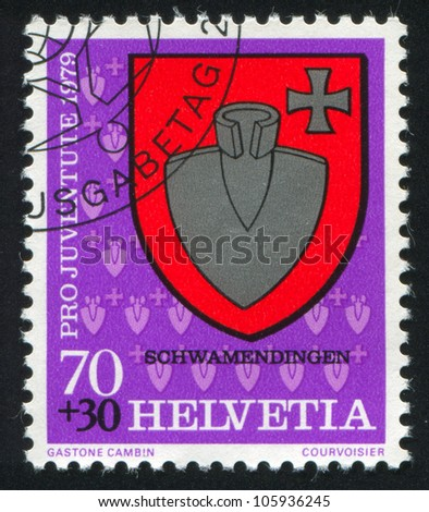 SWITZERLAND - CIRCA 1979: A stamp printed by Switzerland, shows Schwamendingen Arms, circa 1979.