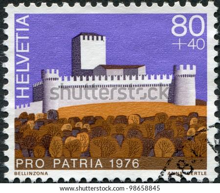 SWITZERLAND - CIRCA 1976: A stamp printed in Switzerland, shows Castle Montebello of Bellinzona, circa 1976 - stock photo