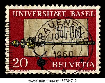 SWITZERLAND-CIRCA 1960:A stamp printed in Switzerland shows image of Grundungsurkunde scepter and the University of Basel, circa 1960.