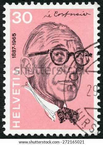 SWITZERLAND - CIRCA 1972: A stamp printed in Switzerland shows Le Corbusier (Charles Edouard Jeanneret Gris) (1887-1965), architect, series Portraits and Signatures, circa 1972 - stock photo