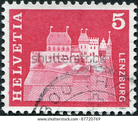 SWITZERLAND - CIRCA 1968: A stamp printed in Switzerland, shows Lenzburg Castle, circa 1968 - stock photo