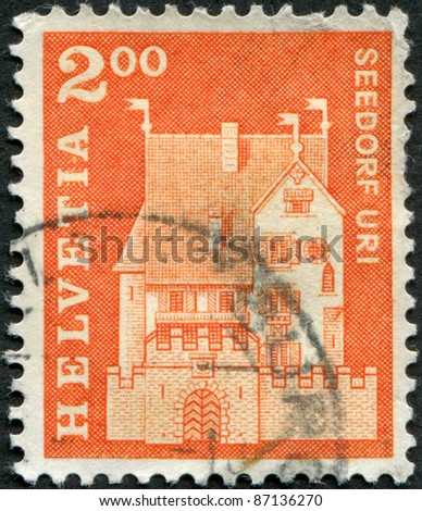 SWITZERLAND - CIRCA 1967: A stamp printed in Switzerland, shows Seedorf Castle, circa 1967 - stock photo