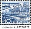 SWITZERLAND - CIRCA 1949: A stamp printed in Switzerland, shows the Harbor of the Rhine, circa 1949 - stock photo