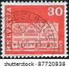 SWITZERLAND - CIRCA 1968: A stamp printed in Switzerland, shows the village square in Gais, circa 1968 - stock photo