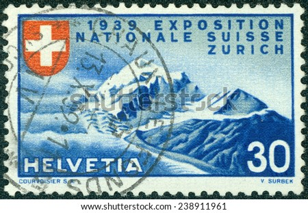 SWITZERLAND - CIRCA 1939: a stamp printed in the Switzerland shows Alpine Scenery, National Exposition of 1939, Zurich, circa 1939 - stock photo