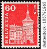 SWITZERLAND - CIRCA 1960: a stamp printed in the Switzerland shows Clock Tower, Bern, Switzerland, circa 1960 - stock photo
