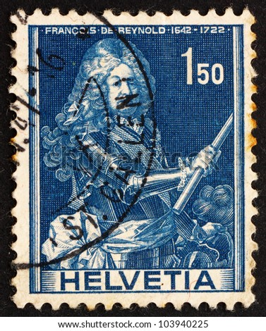 SWITZERLAND - CIRCA 1941: a stamp printed in the Switzerland shows Francois de Reynold, Soldier, circa 1941
