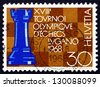 SWITZERLAND - CIRCA 1968: a stamp printed in the Switzerland shows Rook and Chessboard, 18th Chess Olympics, Lugano, circa 1968 - stock photo