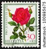 SWITZERLAND - CIRCA 1972: a stamp printed in the Switzerland shows Rose, Papa Meilland, Flowering Plant, circa 1972 - stock photo