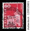 SWITZERLAND - CIRCA 1960: stamp printed by Switzerland, shows Clock Tower, Bern, circa 1960. - stock photo