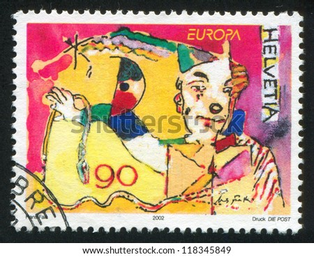 SWITZERLAND - CIRCA 2002: stamp printed by Switzerland, shows Clown, circa 2002