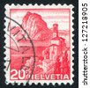 SWITZERLAND - CIRCA 1938: stamp printed by Switzerland, shows Lake Lugano, circa 1938 - stock photo