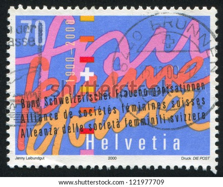 SWITZERLAND - CIRCA 2000: stamp printed by Switzerland, shows Stylized Written Text, circa 2000 - stock photo
