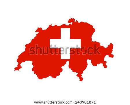 switzerland country flag map shape national symbol - stock photo