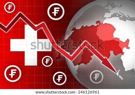 switzerland currency decline down news background illustration - stock photo
