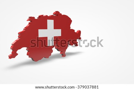 Switzerland flag 3d perspective view isolated