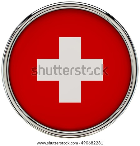Switzerland Flag Glossy Button/icon (3d rendering).