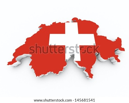 switzerland flag on 3d map - stock photo