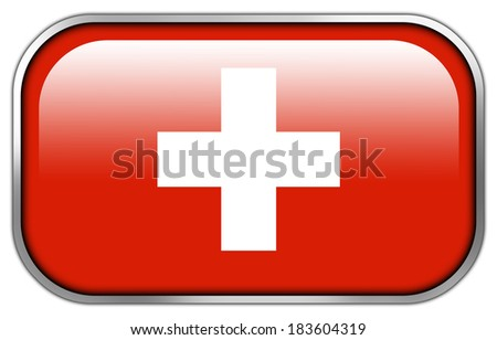 Switzerland Flag rectangle glossy button