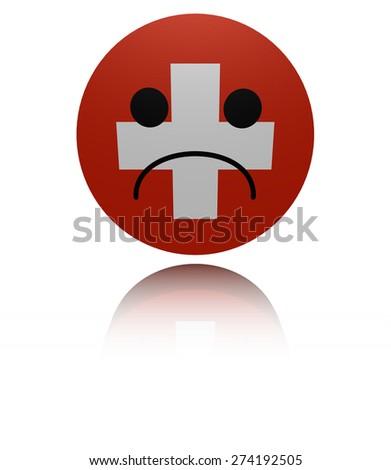 Switzerland flag sad icon with reflection illustration - stock photo