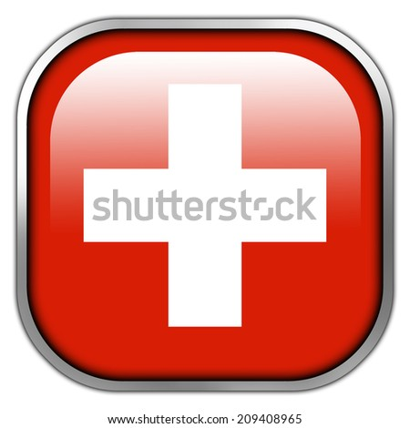 Switzerland Flag square glossy button
