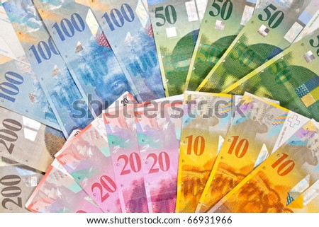 Switzerland Francs. Notes of ten, twenty, fifty, hundred and two hundred Francs - stock photo