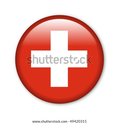 Switzerland - glossy button with flag