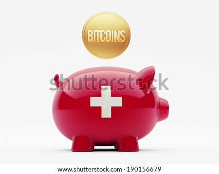 Switzerland High Resolution Bitcoin Concept - stock photo