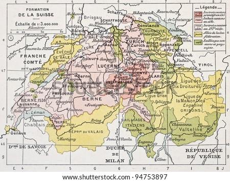 Switzerland historical development old map. By Paul Vidal de Lablache, Atlas Classique, Librerie Colin, Paris, 1894 - stock photo