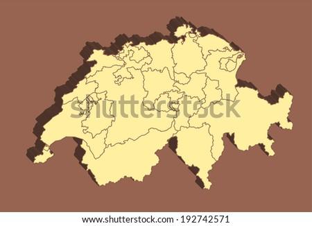 Switzerland Map  - stock photo